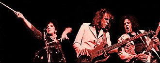 West, Bruce and Laing - L to R: Corky Laing, Jack Bruce and Leslie West, 1973