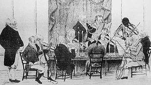 Joseph Antonio Emidy - Early 19th-century sketch of the Truro Philharmonic Orchestra with Joseph Antonio Emidy