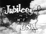 words Jubilee USA inside an outline of the United States with a background of clouds