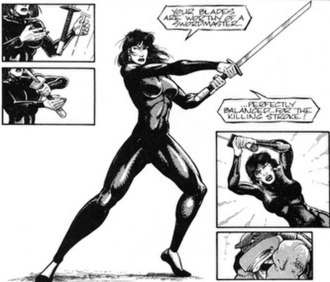 Karai (Teenage Mutant Ninja Turtles) - Karai in the Volume One comics (art by Jim Lawson and Keith David)