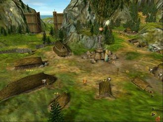 Black & White (video game) - A Norse village at the beginning. Larger houses support more villagers.