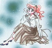 "Makoto in her school uniform, drawn by Naoko Takeuchi. The long skirt and curly hair, unique to her, represent her ""tough girl"" personality."