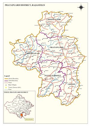 Pratapgarh district, Rajasthan - District Map of Pratapgarh, Rajasthan, India