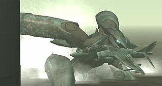 Metal Gear (mecha) - Metal Gear RAY holding a Harrier aircraft in Metal Gear Solid 2: Sons of Liberty.