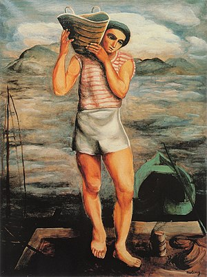 Moïse Kisling - Moïse Kisling, c.1920, Le pêcheur (The Fisherman), oil on canvas, 82 x 61.7 cm, private collection