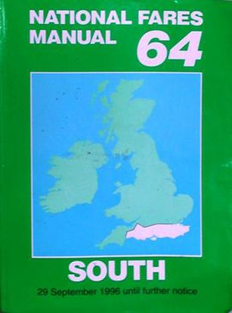 British railway technical manuals - A copy of the 1996/1997 edition (No. 64) of the National Fares Manual (South area)