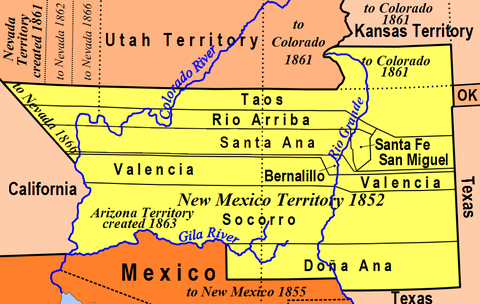 Map of New Mexico Territory in 1852 New Mexico Territory, 1852.png