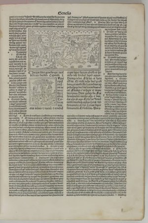 Nicholas of Lyra - A page of Genesis in Postillae perpetuae... Basel, 1498: the first printed biblical exegesis: space has been left for a hand-lettered red initial (a rubric) that was never added to this copy.