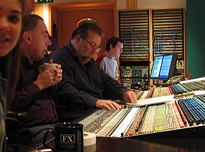 Nigel Wright (record producer) - Nigel Wright (centre) working with Andrew Lloyd Webber in a recording studio