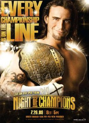 Night of Champions (2009) - Promotion poster featuring CM Punk holding the World Heavyweight Championship