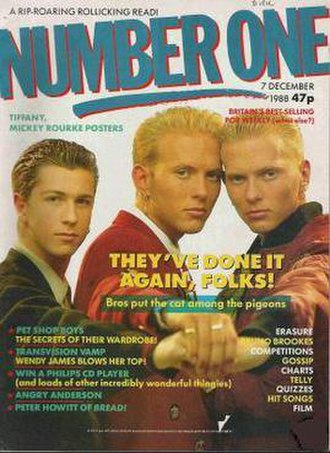 Number One (magazine) - 1988 cover of Number One featuring pop group Bros