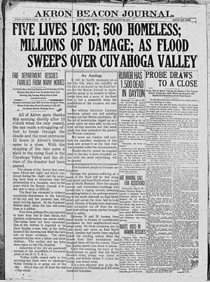 Ohio and Erie Canal - The Akron Beacon Journal front page on March 25, 1913; two days after the flood.