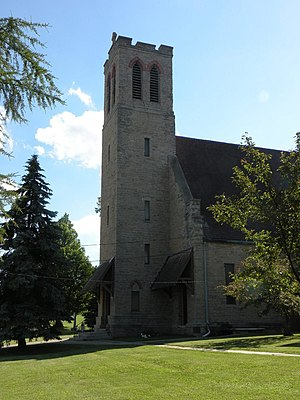 Church of the Holy Apostles (Oneida, Wisconsin) - The Church of the Holy Apostles building, Oneida, Wisconsin, erected by the gift of labor by the Oneida people of one day a week over almost decade. The stone was quarried on the Oneida reservation.