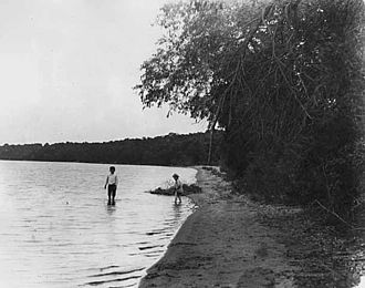 Graham Lakes (Minnesota) - Children wading in Graham Lakes in this 1905 photograph by Emil King