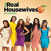 "Six African American women are seen in front of an orange-to-white gradient. The logo for ""The Real Housewives of Atlanta"" is placed above them."