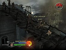 Gameplay screenshot showing the player, as Sam, delivering a killing blow to an Orc on a bridge while other Orcs run to attack him. In the top-right of the screen is a counter related to the game's objective of preventing Frodo from getting captured by the Nazgûl. In the bottom-left the player's health, experience points, ranged weapon ammunition and the quality of their kill are displayed.