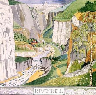 Rivendell - J. R. R. Tolkien's painting of Rivendell