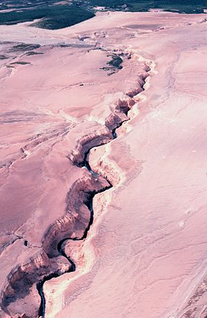 Valley of Ten Thousand Smokes - River eroding volcanic ash flow, Valley of Ten Thousand Smokes