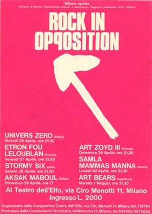 Rock in Opposition - Poster for the 2nd RIO festival in Milan, Italy, between 26 April and 1 May 1979.