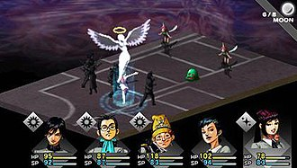 Revelations: Persona - Screenshot of combat in Shin Megami Tensei: Persona, showing one of the main characters summoning a Persona in battle.