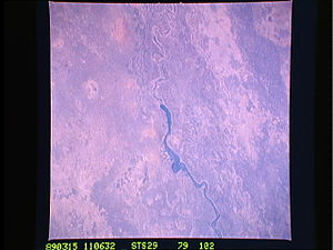 Sennar Dam - The Sennar Dam and Blue Nile, photo by crew of Discovery, STS-29, March 15, 1989