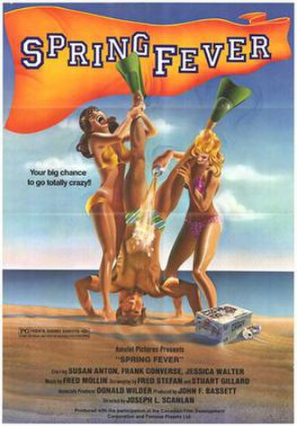 """Spring Fever (1982 film) - Theatrical release poster. Roger Ebert wrote that the film """"does not show anybody even slightly resembling any of the three people in the ad. Nor does it have a scene in which two girls and a boy mess around at the beach."""""""