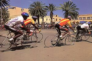 Sport in Eritrea - Cyclists competing in the Tour of Eritrea in Asmara.