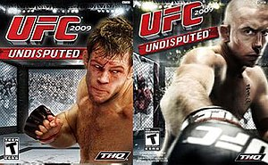 UFC 2009 Undisputed - International box art featuring Forrest Griffin (left) and Canadian box art with Georges St-Pierre (right).