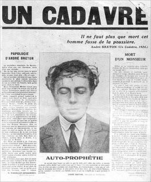 Un Cadavre - Cover of the 1930 pamphlet, with Breton depicted wearing a crown of thorns