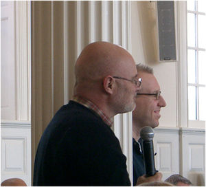 Brian McLaren - Brian McLaren (foreground) and Tony Jones, Yale Theological Conversation, Yale Divinity School, February 2006; Photograph: Virgil Vaduva