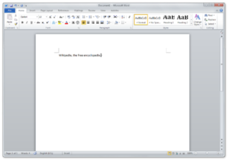 Microsoft Word - Microsoft Word 2010 running on Windows 7