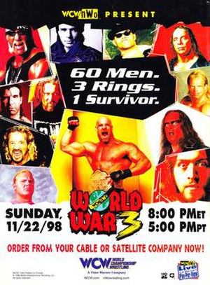 World War 3 (1998) - Promotional poster featuring Hollywood Hogan, Eric Bischoff, Konnan, Bret Hart, Scott Hall, Kevin Nash, Lex Luger, Diamond Dallas Page, Goldberg, Sting, Curt Hennig and The Giant