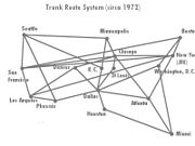Airline trunk route systems.