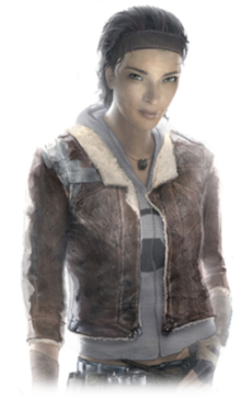 A young Afro-Asian woman with brown hair and light brown eyes. She is clad in a grey crop top, brown leather jacket, blue jeans, fingerless gloves and a small cubic necklace. The right shoulder of the jacket is held together with duct tape.