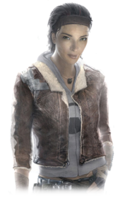 A young Afro-Asian woman with brown hair and light brown eyes. She is clad in a grey hoodie, brown leather jacket, blue jeans, fingerless gloves and a small cubic necklace. The right shoulder of the jacket is held together with duct tape.