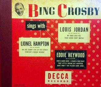 Bing Crosby Sings with Lionel Hampton, Eddie Heywood, Louis Jordan - Image: Bing Crosby Sings with Lionel Hampton, Eddie Heywood, Louis Jordan album cover