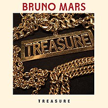 "A gold chain with the word ""Treasure"" on the bottom of the chain. The same word can also be found under the gold chain in black capital font and on the top of the latter, the words ""Bruno Mars"" in red capital font."