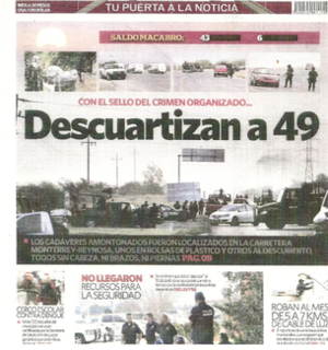 Cadereyta Jiménez massacre - Expreso front page on 14 May 2012