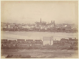 Sydney Freight Network - The Darling Harbour goods line sidings in the 1880s, looking towards the city