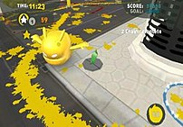de Blob wanders the city spreading color and l...