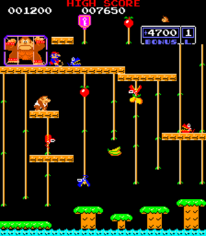 Donkey Kong Jr. - The video game, featuring Donkey Kong in the cage next to Mario, and Donkey Kong Jr. trying to rescue his father.