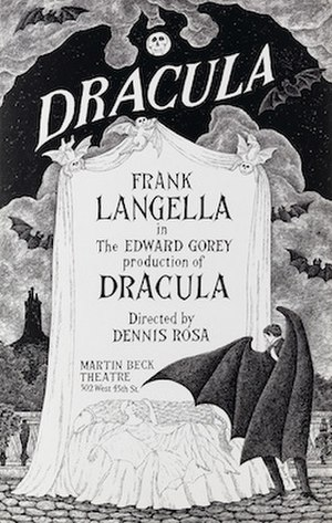 Dracula (1924 play) - Poster for the 1977 revival, with art by Edward Gorey