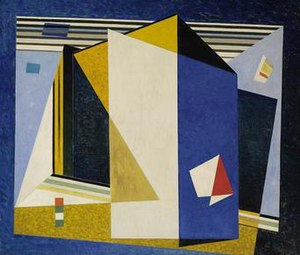 """Werner Drewes - Werner Drewes, """"In the Blue Space,"""" 1938, oil on canvas 35⅞ x 41¾ in. (91.2 x 106.1 cm), Smithsonian American Art Museum, gGift of the artist, 1975"""
