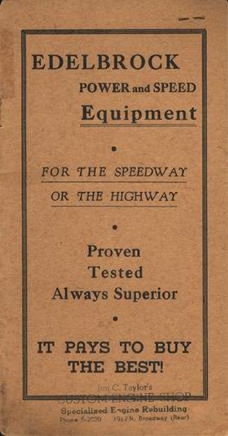 Edelbrock - Edelbrock's first catalog (1946)