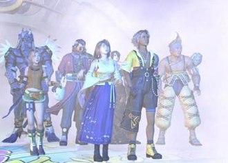 Characters of Final Fantasy X and X-2 - Main characters of Final Fantasy X as shown from left to right: Kimahri Ronso, Rikku, Auron, Yuna, Lulu, Tidus and Wakka.