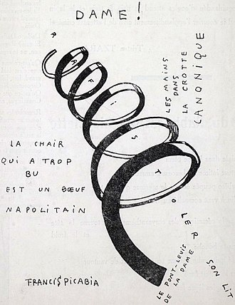 Dada - Francis Picabia, Dame! Illustration for the cover of the periodical Dadaphone, n. 7, Paris, March 1920