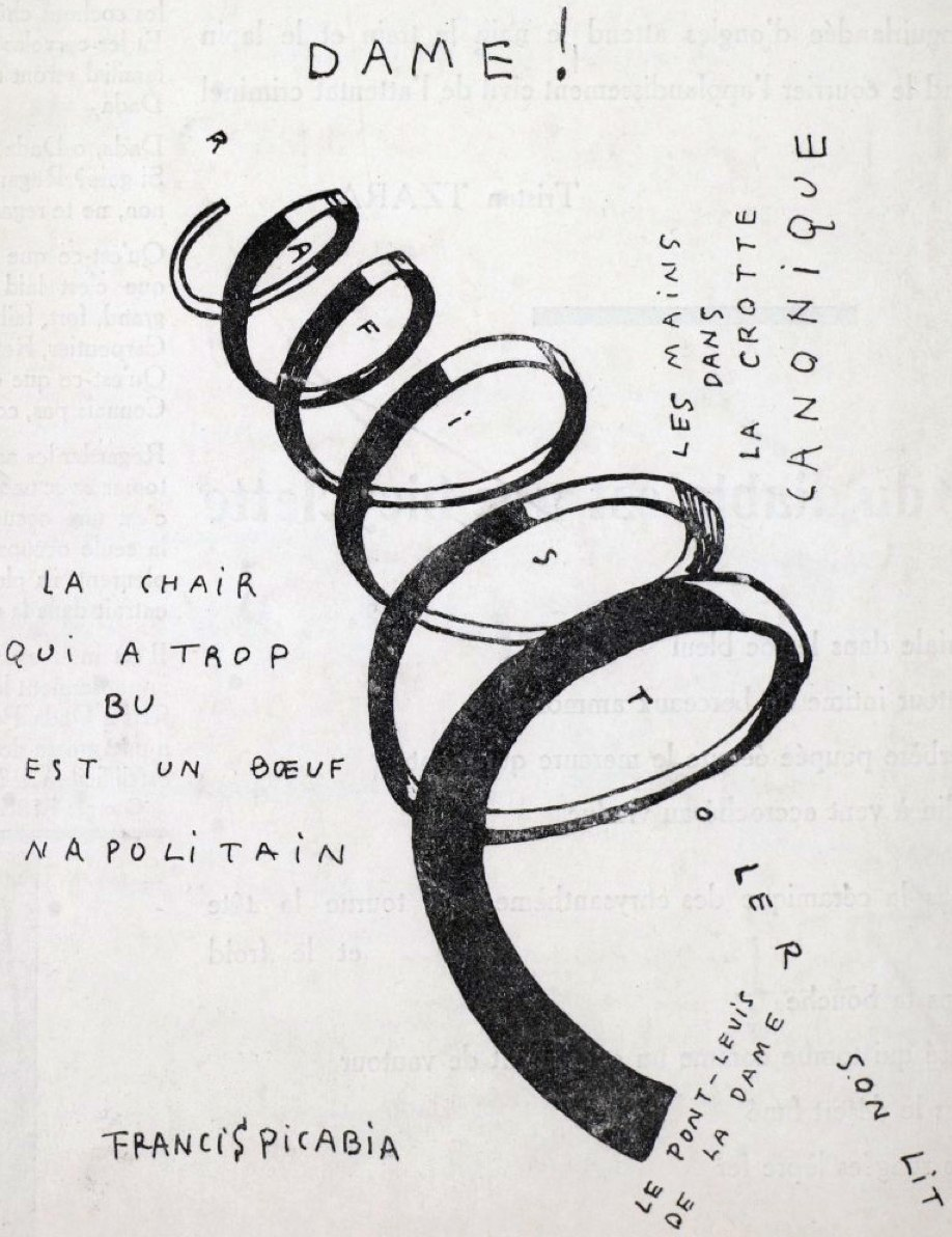 Francis Picabia, Dame! Illustration for the cover of the periodical Dadaphone n. 7, Paris, March 1920