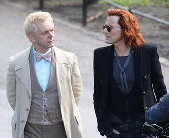 Good Omens (TV series) - Sheen as Aziraphale and Tennant as Crowley while filming.