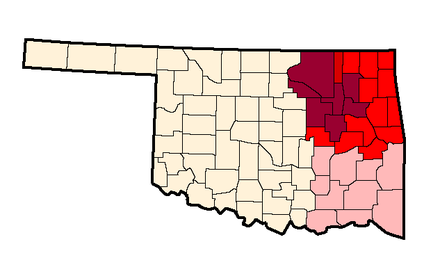 Possible definitions of Green Country. The borders as officially defined by the Oklahoma Department of Transportation denoted by shades of darker reds; The counties of the Tulsa Metropolitan Area denoted in darkest red; possible inclusion of Southeastern Oklahoma in pink, although the Oklahoma Department of Tourism includes this area in the separate Choctaw Country. Greencountyborderwithtulsamsa.png