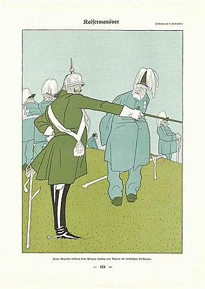 "Olaf Gulbransson - Caricature by Olaf Gulbransson 1909: ""Manoeuvre: Emperor William II explains the enemy's positions to Prince Ludwig of Bavaria"""